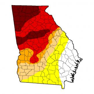 Map of drought conditions in Georgia as of November 1, 2016