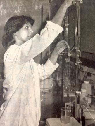 Photo of Sue Ellen McCullough working in a lab