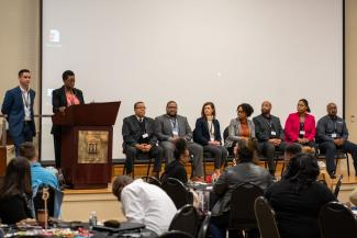 Photo of panelists answering questions at the 2020 UGA Family and Consumer Sciences - 2nd Annual Diversity and Inclusion Financial Planning Symposium