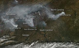 Satellite view of the region affected by smoke from the wildfires
