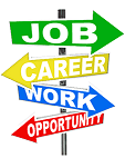 Graphic of sign post with arrows pointing to job, career, work, and opportunity