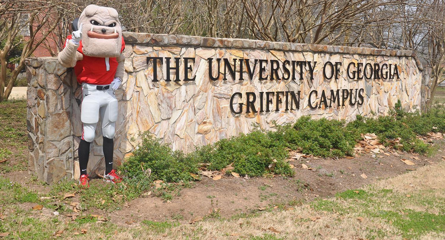 UGA mascot Hairy Dawg stands next to the University of Georgia Griffin Campus sign