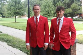 Two of UGA-Griffin's Ambassadors pose outside the Student Learning Center. Photo credit: Sharon Dowdy