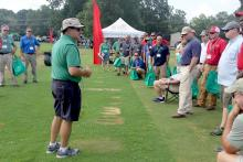 Clint Waltz speaks to a group at Turfgrass Research Field Day