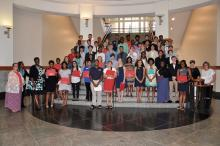 UGA CAES Young Scholars pose on a staircase