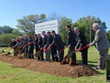 UGA Administrators and local politicians pose at the groundbreaking ceremony